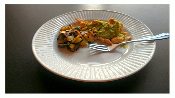 Chicken with Creamy Green Chile, Tomatillo, and Avocado Sauce